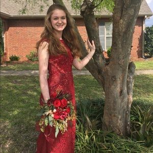 Red Beaded Dress (Prom, Homecoming, Formal, Ball)